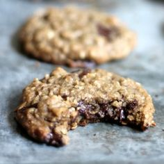 Thick & chewy oatmeal cookies with layers of coconut and chocolate chunks. Made with coconut oil instead of butter!