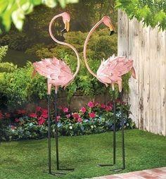 metal flamingo yard art   Flamingos Statue Iron Yard Art Garden Stakes Pink Birds - Animals ...