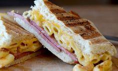 Pastrami Mac N Cheese. Grilled pastrami mac N cheese sandwich. Ham Mac And Cheese, Boxed Mac And Cheese, Creamy Mac And Cheese, Mac Cheese Recipes, Milk Recipes, Cooking Recipes, Chef Recipes, Cheese Wrap, Your Soul