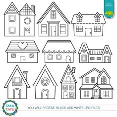 House Doodle, House Quilts, Fabric Houses, Clip Art, Clipart Black And White, Glitter Houses, Album Design, Digital Stamps, Easy Drawings