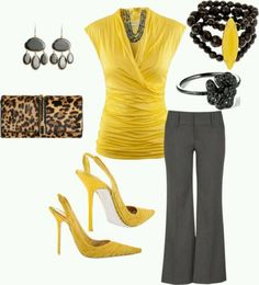Loving the yellow and gray (per usje) but not digging the animal print back with it.  TMGO.    #workattire