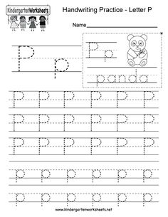 "This is a letter P tracing worksheet. Children can trace uppercase and lowercase letters and the word ""panda."" You can download, print, or use it online. Free Printable Alphabet Worksheets, English Worksheets For Kindergarten, Letter Worksheets For Preschool, Handwriting Practice Worksheets, Preschool Letters, Tracing Worksheets, Free Preschool, Alphabet Writing, Lettering"