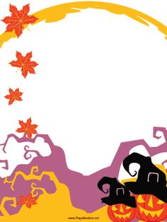 Pumpkins wear witch hats and orange leaves fall in front of purple and yellow tree trunks in this free, printable Halloween border. Free to download and print.