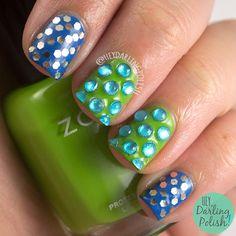 Glitter Placement  #nails, #nailart, #nailpolish, #blue, #green, #zoya, #glitter, #rhinestones, #heydarlingpolish, #ohmondieupartdeux