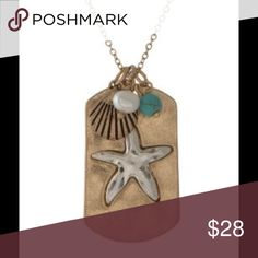 "🎉HP🎉Beach Lover Necklace This gorgeous gold tone necklace displays a silver starfish in the center, and three individually attached beachy accents. Approximately 16"" in length. Gold chain has an adjustable clasp closure. Jewelry Necklaces"