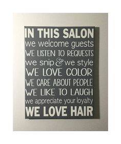 Hair salon rules sign READY TO SHIP In this salon