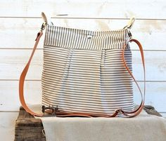 Waterproof BEST SELLER Diaper bag/Messenger bag STOCKHOLM Gray and ecru nautical stripe - 10 Pockets -Ikabags Baby talk magazine featured. $93.37, via Etsy.