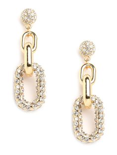 We love the way these earrings work a polished elegance while sporting edgy chains as well. If you ask us, it's all in the way those gold links are dripping in ice-white crystals.  This is part of the BaubleBar + Nina Garcia Chain Collection
