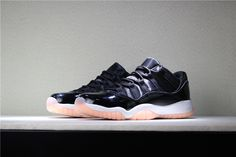 The Air Jordan 11 Retro Low GS Girls Shoe incorporates top to bottom design for support and performance with soft, stylized comfort. Its leather and synthetic upper features mesh underlays for breathability, while an Air-Sole unit in its heel cushions. Dressed in a Black, Bleached Coral and White color scheme. This low-top Air Jordan 11 features a simple Black upper with matching patent leather overlay. Finishing off the design is a White midsole, Bleached Coral accents Air Jordan 11 Low, Nike Air Jordan 11, Nike Air Max, Corals For Sale, Air Max Sneakers, Sneakers Nike, Coral Accents, Girls Shoes, Bleach