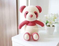 fukuroucrafts: Cute Crochet Pattern Panda Bear Doll, Cute Amigurumi Pattern Panda Bear Doll, แพทเทิร์น ตุ๊กตา ถัก โครเชต์ แพนดา, Pink panda, แพนด้า สี ชมพู