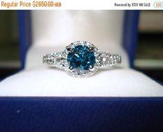 ON SALE Platinum Blue Diamond Engagement Ring 1.36 Carat