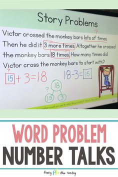 These Word Problem Number Talks for addition and subtraction within 20 are PERFECT for teaching your students to fully understand how to solve story problems. They are common core aligned and have problems with the unknown in all positions. Our students LOVE these and we know yours will too. Snag your set today. #wordproblemnumbertalksfirstgrade #wordproblemsfirstgrade #storyproblemsfirstgrade First Grade Words, First Grade Lessons, Teaching First Grade, First Grade Teachers, First Grade Math, Math Lessons, Second Grade, Math Story Problems, Word Problems