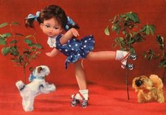 Vintage doll postcard  60s doll on roller by CuteEyeCatchers