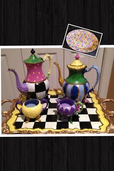 Silver tea set  custom painted 5 pieces. by paintingbymichele, $265.00