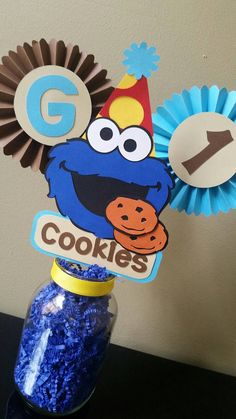 Items similar to Cookie Monster Centerpiece, Cookie Monster Table Decor, Cookie Monster Birthday, Cookie Monster Party, Cookie Monster on Etsy Monster 1st Birthdays, Monster Birthday Parties, Elmo Party, Baby Boy Birthday, Birthday Cookies, 1st Boy Birthday, First Birthday Parties, Birthday Ideas, Monster Centerpieces