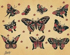 Traditional. Sailor Jerry. Butterflies.
