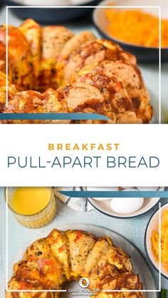 Filled with breakfast favorites - scrambled eggs, ham and cheese - Breakfast Pull Apart Bread makes enough for the whole family to share!