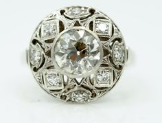 Antique 1.51ct Old European Cut Diamond Engagement Ring Art Deco in 14K with Diamond Halo