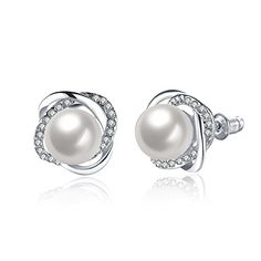Pearl Earrings | White topaz Pearl Earrings Platinum Plated stud earrings for women Fashion jewelry E2003 * More info could be found at the image url.