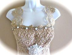 Romantic Burlesque Corset  Beige White  Detailed InRhinestones  Beads Flowers Roses  Bawdy And Beautiful