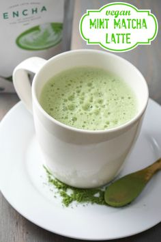 Minty, creamy vegan matcha latte...the perfect way to start your day!