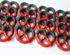 Red Black Yellow Buttons Boy Birthday Party Favors Boy Birthday Cookies Chocolate dipped Pretzels Outfit Cookies Dessert Table Treats Favors is part of dessert Table Boy - cupcakenovelties Mickey 1st Birthdays, Mickey Mouse First Birthday, Mickey Mouse Baby Shower, Mickey Mouse Clubhouse Birthday Party, 1st Boy Birthday, Boy Birthday Parties, Birthday Ideas, Birthday Table, Mickey Mouse Clubhouse Decorations