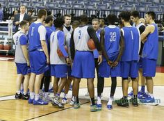 Kentucky Wildcats head coach John Calipari talked the team as the University of Kentucky men's basketball team practiced at FedExForum in Memphis, Tn., Thursday, March 23, 2017. UK plays UCLA Friday night in the NCAA South Region semifinals.