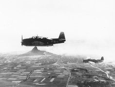 TBM Avenger torpedo planes of Composite Squadron 84 from USS Makin Island flying over Ie Shima, Ryukyu Islands, Japan, 16 Apr 1945 (US Naval History & Heritage Command: NH 69420)