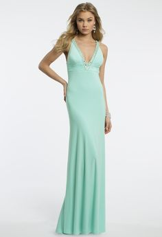 Camille La Vie Jersey Plunge Halter Long Prom Dress