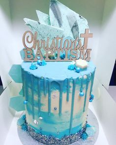 Christening Drip Cake  on Cake Central