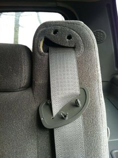 Silly Seatbelt Smiley Face Eating Seatbelt: I took off the cover to my seatbelt where it meets the seat and to my surprise it revealed a smiley face! It looks l Mini Mundo, Things With Faces, Weird Things, The Hills Have Eyes, Hidden Face, Wall E, Everyday Objects, Bored Panda, Funny Faces