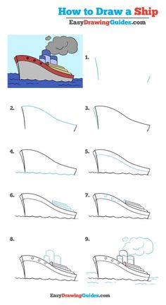 Learn How to Draw a Ship: Easy Step-by-Step Drawing Tutorial for Kids and Beginners. #Ship #DrawingTutorial #EasyDrawing See the full tutorial at https://easydrawingguides.com/how-to-draw-a-ship-really-easy-drawing-tutorial/.