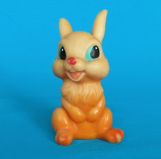 Vintage Happy Orange Hare Squeak Toy