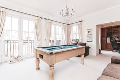 Games Room. Pool Table. Lounge area. French doors to balcony. Plenty of natural light. Studio. Relax. Leisure. White carpet. #loungeinspo #loungegoals