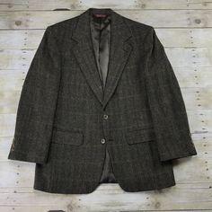 Vintage Nordstrom Wool 2-Button Brown / Black Multicolor Herringbone Sport Coat Suit Jacket Mens Size 40R