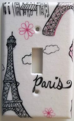Paris Eiffel Tower Pink Glitter Light Switch Plate Cover Girl Bedroom Wall Decor | eBay just bid on this for Chelsea