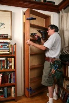 Detailed tutorial for making a hidden bookcase door.  Am going to do this going from my kitchen into my office.  Then put all my cookbooks on the kitchen side! Bookcase Door, Tall Cabinet Storage