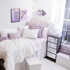 Dorm Room Ideas - College Room Decor - Dorm Inspiration | Dormify Purple Dorm Rooms, Purple Bedroom Decor, College Bedroom Decor, Cool Dorm Rooms, Room Ideas Bedroom, College Room, Purple Room Decorations, Dorm Door Decorations, Dorms Decor