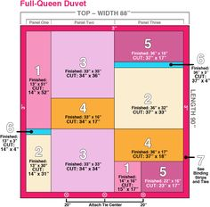 Tutorial on making patchwork duvet cover in three sizes, King, Queen, and Twin
