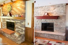 Mountain Stack stone was applied directly over the brick on the fireplace without a mortar joint.  A custom Alder mantel and new doors completed this transformation.