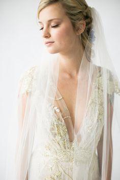 wedding dress with gold threads - photo by Jamie Rae Photo http://ruffledblog.com/serenity-blue-wedding-inspiration