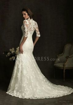 Also stylish lace wedding dress with sleeves