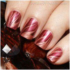 water marble: Colour Alike 8 Burgundy Alike + Colour Alike 21 Hazelnut Shake #nails #nailart