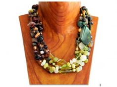 Brown and green three color gem stone necklace