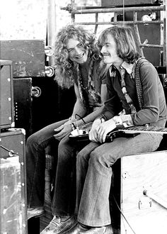 Robert Plant and John Paul Jones, backstage at the Kezar stadium in San Francisco, 1973, photographed by James Fortune.