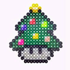 Mushroom Christmas tree perler beads by thespring_kch perler,hama,square pegboard,video games,nintendo, super mario bros,mushroom,