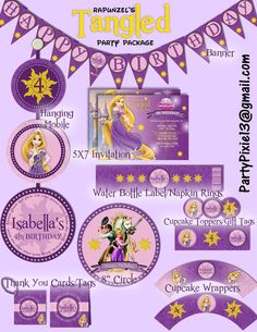 Disney Princess Rapunzel Tangled Party by PartyPixiePrintables, $25.00