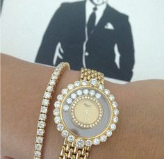 Chopard limited edition yellow gold and diamond watch and a flawless diamond and yellow gold tennis bracelet. Perfection!