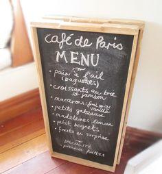 Cafe de Paris Blackboard menu