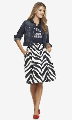 HIGH WAIST ZEBRA PRINT FULL MIDI SKIRT from EXPRESS